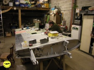 Préparation de l'aile à l'atelier